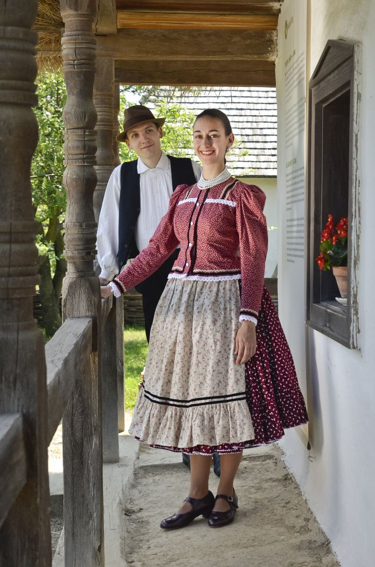 Couple dressed in traditional clothes at the Szentendre open air museum (skanzen)